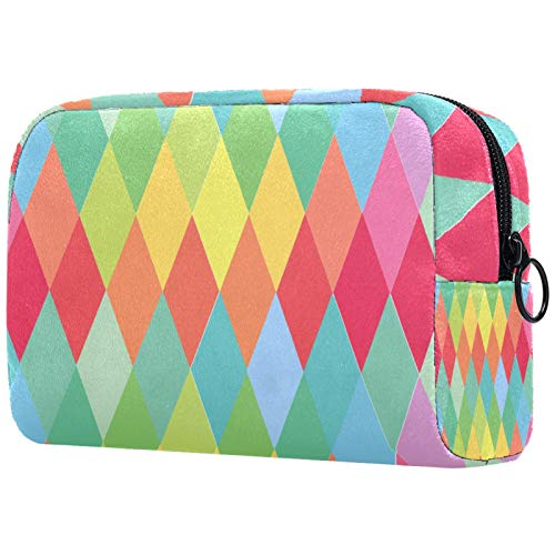 Make-up-Tasche Kulturbeutel für Damen, Aquarell-Kosmetik, handliche Tasche mit Reißverschluss, abstrakt, dunkelviolett, rosa Hintergrund