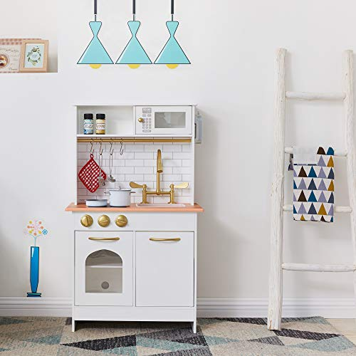 Image of the Teamson Kids Little Chef Boston Kids Play Kitchen, Toddler Pretend Play Set with Accessories, White/ Wood