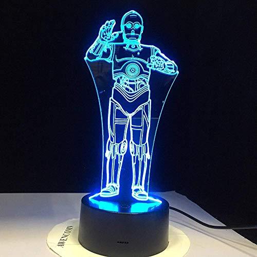 Stormtrooper R2-D2 Robot 3D LED Luz de noche acrílica Darth Vader Lámparas maestras Dibujos animados Luminoso Iluminación para bebés Dropshipper niños Noche de Navidad cumpleaños San Valen