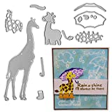 Metal Two Giraffes Cutting Dies,Cute Giraffes Animal with Umbrella Die Cuts Embossing Stencils Template Mould for Card Scrapbooking and DIY Craft Album Paper Card Decor