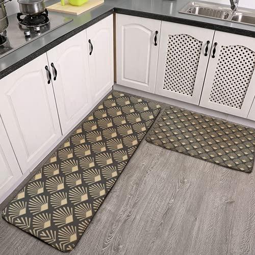 Lot de 2 tapis de cuisine et tapis de cuisine, motif Art Deco Gatsby - Antidérapant - En flanelle douce - Pour salon, chambre à coucher, cuisine