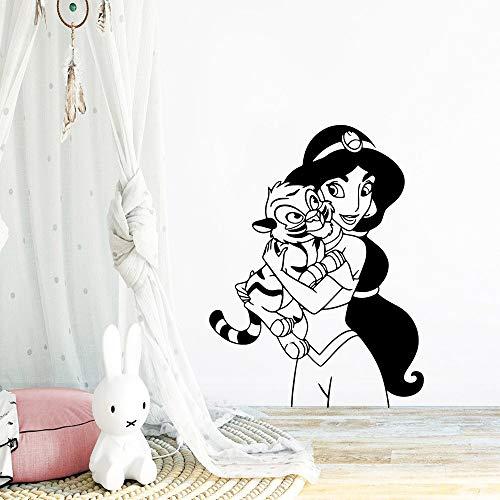 Tianpengyuanshuai creatieve prinses tijger muursticker kinderen wooncultuur woonkamer sticker creatieve sticker 62X50cm