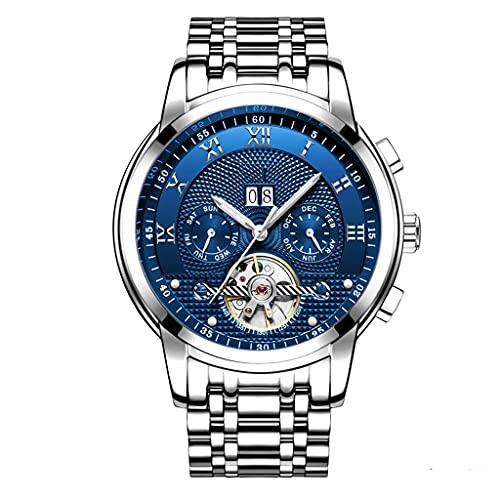 Relojes Hombre Moda Acero Inoxidable Impermeables Mecánico Automático Reloj Hombre Lujoso Comercio Calendario Militar Deportivo con Números Romanos Dial