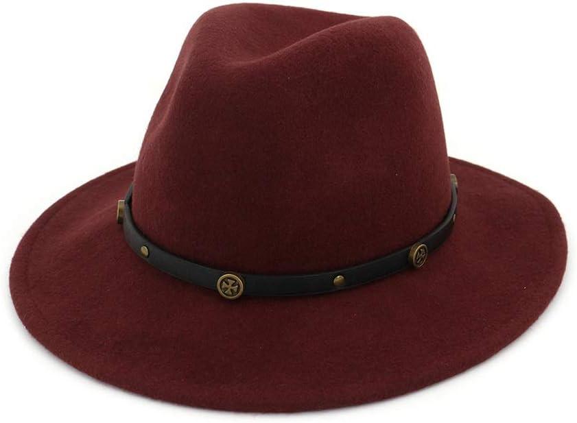 HXGAZXJQ Wool Wide Brim Felt Cap Fedora Hat for Womem Men Winter Auturmn Cashmere Gangster Church Hat (Color : Wine red, Size : 56-58)