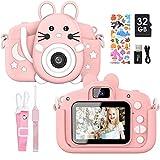 Gofunly Cámara de Fotos Digitales para Niños, 2.0' HD 1080P 20MP Camara de Fotos para Infantil, Tarjeta de Memoria de 32GB Selfie Video Cámara Infantil, Regalos Ideales para Niños de 3-12 Años (Rosa)
