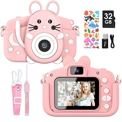 """Gofunly Cámara de Fotos Digitales para Niños, 2.0"""" HD 1080P 20MP Camara de Fotos para Infantil, Tarjeta de Memoria de 32GB Selfie Video Cámara Infantil, Regalos Ideales para Niños de 3-12 Años (Rosa)"""