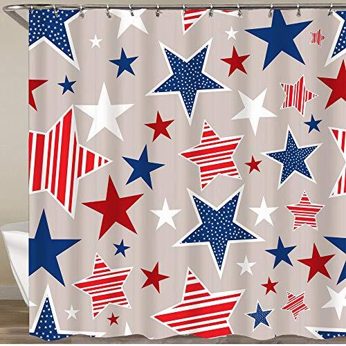 KGSPK Cortinas de Ducha,Día de la Independencia Americana,Impermeable Cortinas Baño y Lavables Cortinas Bañera 180x180CM