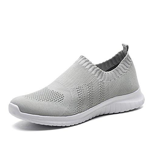 TIOSEBON Women's Walking Shoes Lightweight Mesh Slip-on- Breathable Running Sneakers 11 US Gray