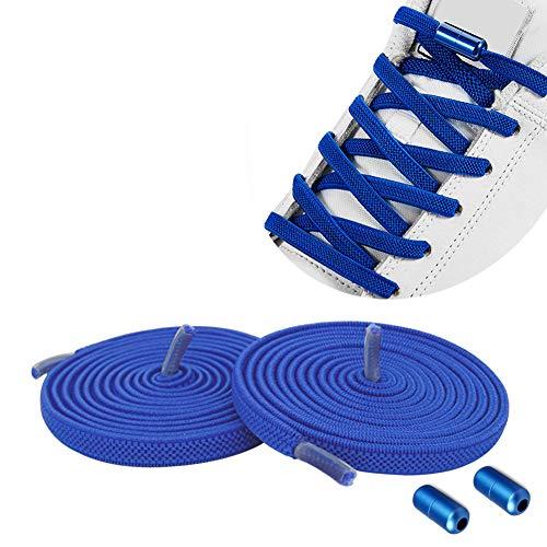 Lacci Elastici Delle Scarpe Lacci Senza Nodo No Tie Lacci Scarpe Blu Scuro Stringhe Elastiche Lacci Elastici per Scarpe con Chiusura in Metallo per Scarpe da Ginnastica,Scarpe da Corsa,Scarpe Casual