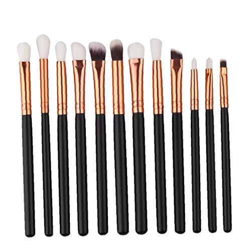 Maquillage des yeux de de pinceaux de maquillage multifonction yeux Pinceaux doux et synthétiques Hairs poignée en bois pour Eyeshadow- noir (sans sac)