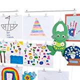 BHG You-Have-Space 2 Pack Hanging Picture Display Photo Holders with Metal Cable Strings and 40 Magnetic Clips Metal White