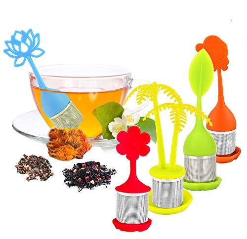 infusionador/colador te/filtro te/infusores de te, Infusor en forma de hoja de Te hecho de silicona 100% alimentaria libre de BPA, juego de 5 infusores
