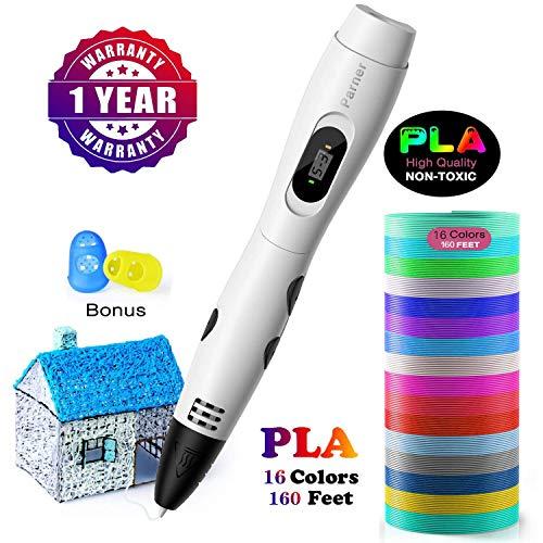 3d stifte, Parner 3D Stift mit 12 Verschiedenen PLA Farb Ersatzminen, 3D Pen für Kinder Sicher und Einfach zu Benutzen, 3D Stifte Set für Jung und Alt