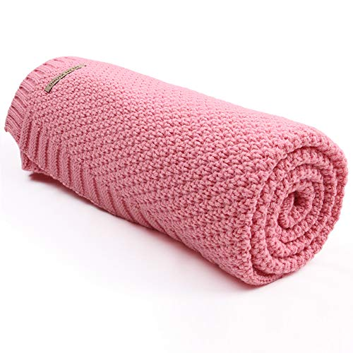 mimixiong Baby Blanket Knit Toddler Blankets for Boys and Girls Pink 40x30 Inch