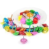 Comius Juego de peonzas, Lote de 30 Peonzas de Madera de Colores - Regalos y Detalles para...