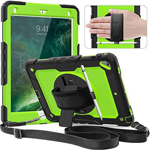 Timecity Hülle für iPad 6.Generation, iPad 9,7 Zoll hülle, Anti-Fall Hülle mit Bildschirmschutz, Handschlaufe und Schulterriemen, Drehbarer Ständer, Bleistifthalter - Gelbgrün