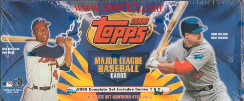 2000 Topps Baseball Factory Sealed Set Which Includes All of the Basic 478 Cards From Series #1 and #2. Loaded with Your Favorite Stars Including McGwire, Gwynn, Ripken, Jeter, Hank Aaron, Sosa, Thomas, Rodriguez, Clemens, Chipper, Griffey, Maddux, Nomar, Bonds, Vladimir and Many Others!