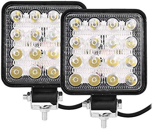 2 Pezzi Faretto Faro LED Quadrato da Lavoro per Auto Barca Fuoristrada SUV Trattore Camion Veicoli Industriali 16 LED 48W 6000k