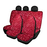 WELLFLYHOM Bucket Protector Car Seat Covers Girly Full Set Print Stylish Red Galaxy Design Front Back Seat Cover for Women for Cars Vehicle Universal Fits Cars Trucks Vans SUVs Sedans