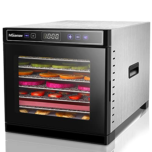 Nictemaw Déshydrateur Alimentaire avec 8 Plateaux Inox, Déshydrateur de Légume de Fruit avec Minuterie et Réglages de Température, écran à LED, 600W, sans BPA