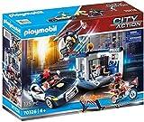 Weihnachtsgeschenk Playmobil Große Polizeistation Spielset inkl Polizeihubschrauber - Polizeiauto mit Licht - Motorrad - 4 Figuren + Zubehör