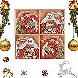 QIMMU 12PCS Déco Noël en Bois,Ensemble de Ornements d'arbre de Noël Accessoires de Noël Décoratifs de Boule Noël Bois Pendentifs en Bois Décoration pour Sapin de Noël (B)