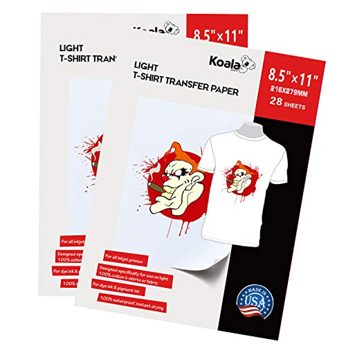 Koala Light T-shirt Transfer Paper for Light Color Fabric 8.5X11 Inches 56 Sheets Compatible with Inkjet Printer