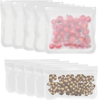 Bolsa de almacenamiento reutilizable, bolsa hermética congelada STRAP de 10 unidades (5 unidades grandes y 5 unidades pequeñas) para alimentos, frutas, refrigerios para niños o cosméticos de viaje