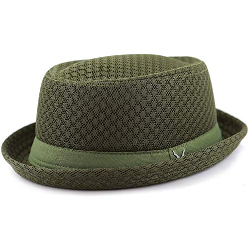The Hat Depot Light Weight Classic Soft Cool Mesh Porkpie hat (S/M, Olive)