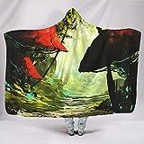 Wandlovers Manta supersuave con capucha, psicodélica, bosque seta con impresión solar, cálida, invierno, étnica, capa blanca, 130 x 150 cm