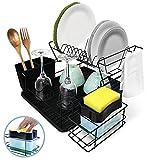 HouseMate-Escurreplatos, Escurridor de Platos de Acero Inoxidable de 2 Niveles, Escurridor Fregadero con dispensador de jabón y Estropajo Incluido.