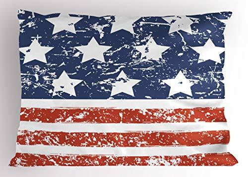 ABAKUHAUS Amerika Siersloop voor kussen, Vlag met grunge effect, standaard maat bedrukte kussensloop, 90 x 50 cm, Rode Blauw en Wit