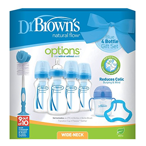 Dr Brown's Natural Flow Anti-Colic Vent Bottle, Beaker and Teether Set....