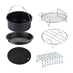 GoWISE USA Standard 6-Piece Air Fryer Accessory Kit for 2.75-3.7 Quarts, Small, Universal