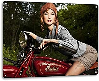 SRongmao Indian Motorcycle Retro Vintage Look Dealer Bike Wall Garage Decor Metal Tin Sign 8x12in New