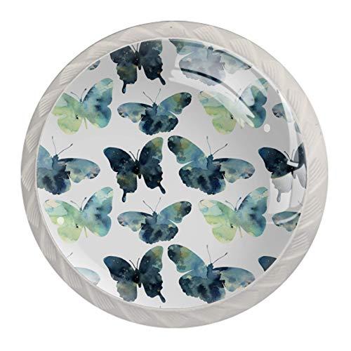 [4 piezas) colorido cristal armario armario gabinete cajón puerta tirador tirador manija puerta verde oscuro acuarela mariposa