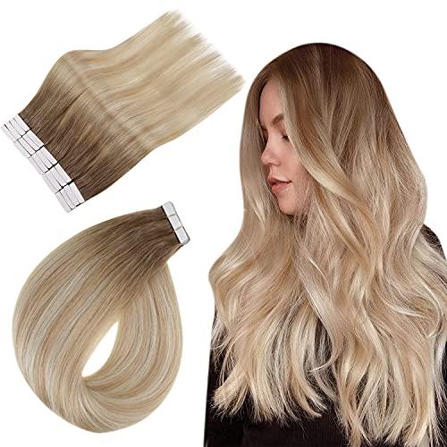 Easyouth Tape on Balayage Extensions Echthaar 18zoll Farbe 6/27/60 Chestnut Brown mit Blond Mischen 40g Blonde Balayage Haarverlängerung Echthaar Tapes