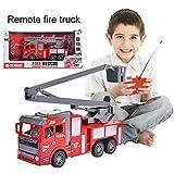 ZSLGOGO Camion Pompier Telecommandé Enfant RC Camion de Pompiers avec lumière Petites Voitures pour garçons, Filles