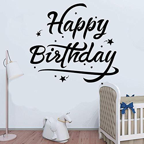 Familia feliz cumpleaños caligrafía con estrellas etiqueta de la pared del vinilo del vector para la decoración de la sala de eventos familiares y de cumpleaños 64x57cm