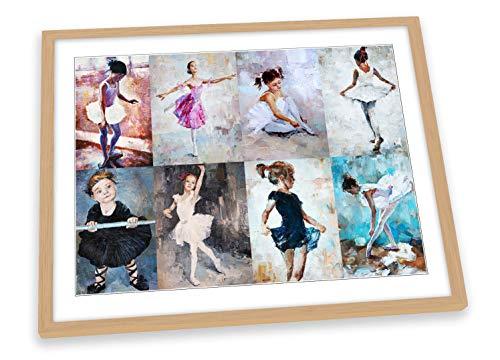 Canvas Geeks Póster de bailarinas bailarinas con marco multicolor, tamaño A1