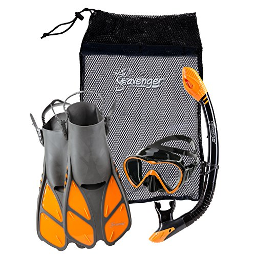 Seavenger Diving Dry Top Snorkel Set with Trek Fin, Single Lens Mask and Gear Bag, L/XL - Size 9 to...