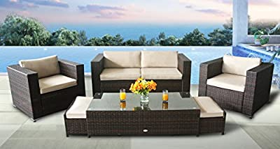 Oakside Outdoor Sectional Patio Furniture Sofa Set Modern Super Rattan Wicker 6Pcs Couch Conversation Set w/Free Patio Cover