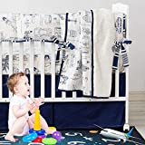 Brandream Baby Boys Nursery Crib Bedding Sets Race Cars Aircraft Tank Helicopter Blueprint Bedding 100% Cotton   Baby Blanket, Crib Sheet and Crib Skirt 3 Pieces Navy Blue White