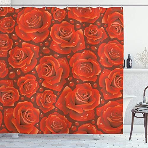 ABAKUHAUS Rose Duschvorhang, Rote Rosen Wasser Regen-Tropfen, Wasser Blickdicht inkl.12 Ringe Langhaltig Bakterie & Schimmel Resistent, 175 x 200 cm, Ruby Vermilion