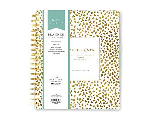 Day Designer for Blue Sky 2017-2018 Academic Year Daily & Monthly Planner, Twin-Wire Bound, 8' x 10', Gold Spotty Dot