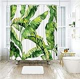 LIVILAN Tropical Shower Curtain, Green Banana Palm Leaf Fabric Bathroom Curtains...