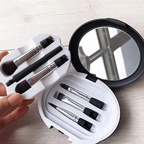 Mini Voyage Maquillage pinceaux Ensemble, Portable Mélange Visage Poudre Paupières Cache-cernes Brosses Avec Miroir de maquillage-Noir
