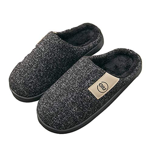 YUENA CARE Zapatillas de Estar por Casa Invierno Cálido, Pantuflas Antideslizantes para Hombre/Mujer, Zapatillas de Interior Suaves Modernas Negro 42-43