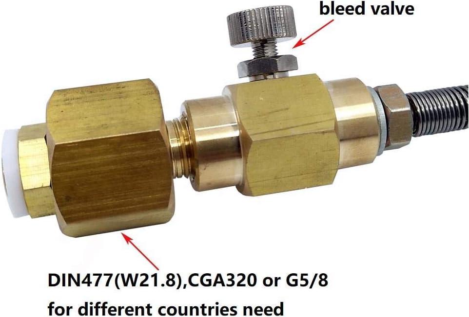 Adaptateur de recharge de cylindre Soda Club Co2 avec connexion W21.8-14, CGA320 avec tuyau de renforcement et adaptateur marche/arrêt, purge et manomètre UE Eu Bleed And Gauge