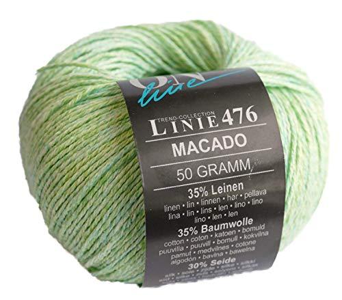 Online Linie 476 Macado Color 06 - Ovillo de lana (lino, algodón y seda, 50 g, 150 m, grosor de...